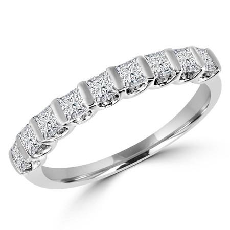 Princess Cut Diamond Semi-Eternity Bar-Set Wedding Band Ring in White Gold - #HDR5498-PR-W