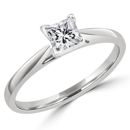Princess Cut Diamond Solitaire Cathedral Set 4-Prong Engagement Ring in White Gold - #356LP-W
