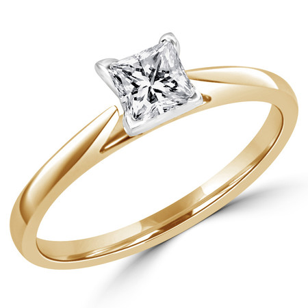 Princess Cut Diamond Solitaire Cathedral Set 4-Prong Engagement Ring in Yellow Gold - #356LP-Y