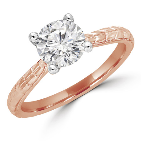 Round Cut Diamond Solitaire 4-Prong Vintage Engagement Ring in Rose Gold - #ENOQ3533-R