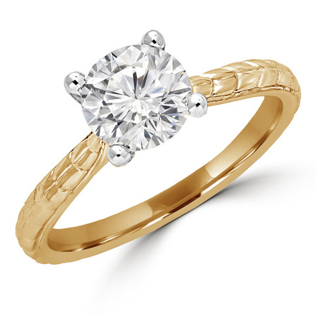Round Cut Diamond Solitaire 4-Prong Vintage Engagement Ring in Yellow Gold - #ENOQ3533-Y