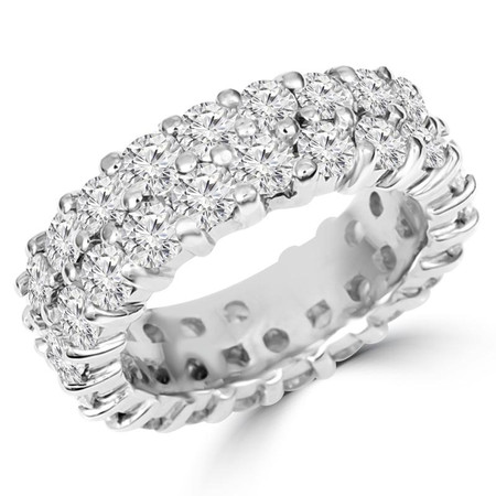 Round Cut Diamond Double Full-Eternity Shared-Prong Wedding Band Ring in White Gold - #DOUBLE-ETERNITY-W