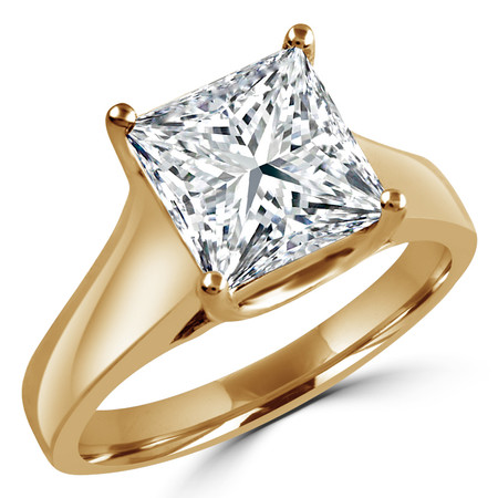 Princess Cut Diamond Solitaire 4-Prong Trellis-Set Engagement Ring in Yellow Gold - #SPR2066-Y