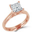 Princess Cut Diamond Solitaire 4-Prong Cathedral-Set Engagement Ring in Rose Gold - #SPR2563-R