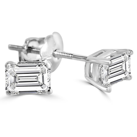Emerald Cut Diamond Solitaire Stud Earrings with Screwbacks in White Gold - #EEW433-W