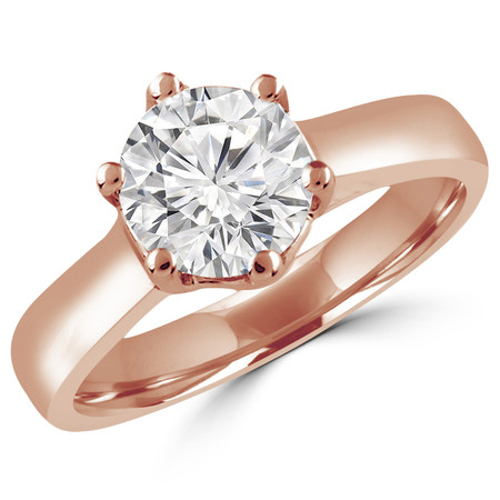 Round Cut Diamond Solitaire 6-Prong Trellis-Set Engagement Ring in Rose Gold - #SRD2042-R