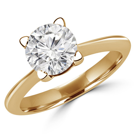 Round Cut Diamond Solitaire Tapered-Shank 4-Prong Engagement Ring in Yellow Gold - #SRD2656-Y