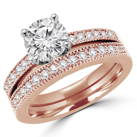Round Cut Diamond Multi-Stone 4-Prong Engagement Ring and Wedding Band Bridal Set with Round Diamond Accents in Rose Gold - #1942-A-B-R