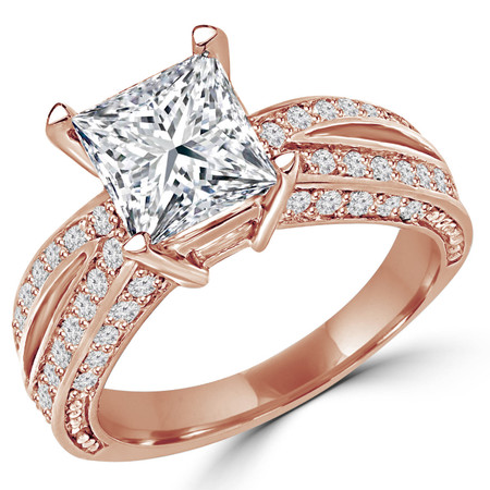Princess Cut Diamond Split-Shank Multi-Stone 4-Prong Engagement Ring with Round Diamond Accents in Rose Gold - #2017LP-R
