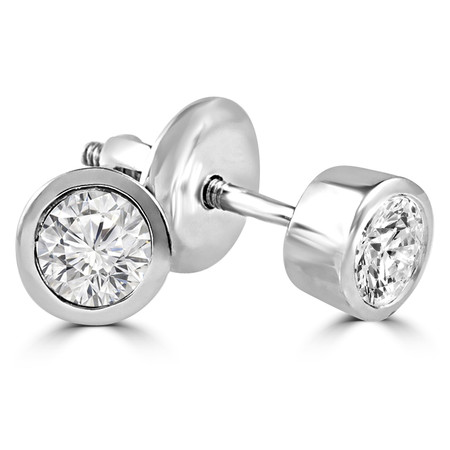 Round Cut Diamond Solitaire Bezel-Set Stud Earrings with Screwbacks in White Gold - #ER1-W