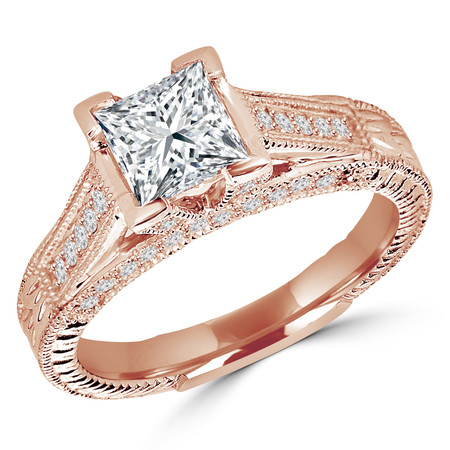 Princess Cut Diamond Vintage Multi-Stone V-Prong Engagement Ring with Round Diamond Accents in Rose Gold - #2028LP-R