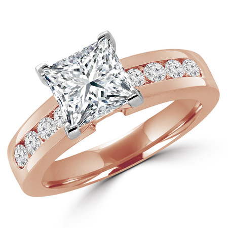 Princess Cut Diamond Multi-Stone V-Prong Engagement Ring with Round Channel Set Diamond Accents in Rose Gold - #2074LP-R
