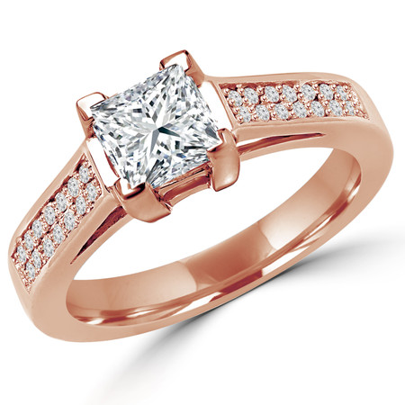 Princess Cut Diamond Multi-Stone 4-Prong Cathedral & Trellis-Set Engagement Ring with Round Diamond Pave Accents in Rose Gold - #2133LP-R