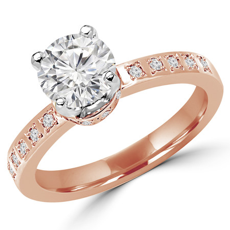 Round Cut Diamond Multi-Stone 4-Prong Engagement Ring with Round Diamond Flush-Set Accents in Rose Gold - #2161L-R