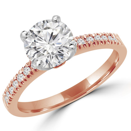 Round Cut Diamond Multi-Stone 4-Prong Engagement Ring with Round Diamond Scallop-Set Accents in Rose Gold - #2303L-R