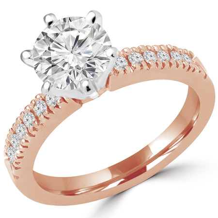 Round Cut Diamond Multi-Stone 6-Prong Engagement Ring with Round Diamond Accents in Rose Gold - #2303WS-R
