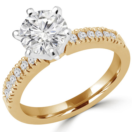 Round Cut Diamond Multi-Stone 6-Prong Engagement Ring with Round Diamond Accents in Yellow Gold - #2303WS-Y