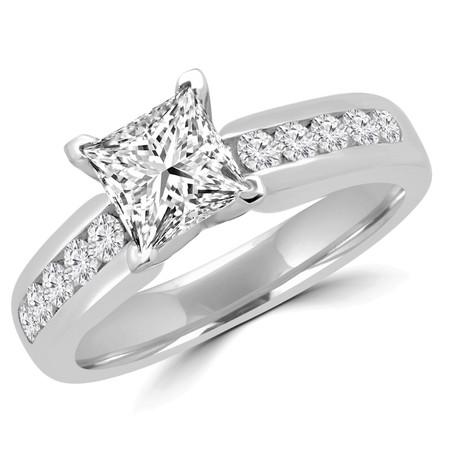 Princess Cut Diamond Multi-Stone 4-Prong Engagement Ring in White Gold - #2390LP-W
