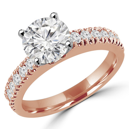 Round Cut Diamond Multi-Stone 4-Prong Engagement Ring with Round Diamond Scallop-Set Accents in Rose Gold - #2457L-R