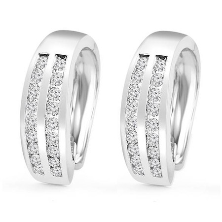 Round Cut Diamond Multi-Stone 2-Row Huggie Hoop Channel-Set Earrings in White Gold - #HE2046-W