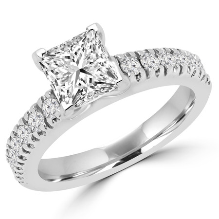 Princess Cut Diamond Multi-Stone 4-Prong Engagement Ring with Round Diamond Scallop-Set Accents in White Gold - #2457LP-W