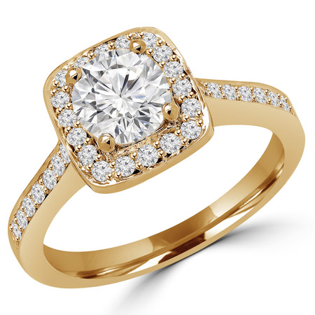 Round Cut Diamond Vintage Multi-Stone Halo 4-Prong Engagement Ring with Round Diamond Accents in Yellow Gold - #2566L-Y