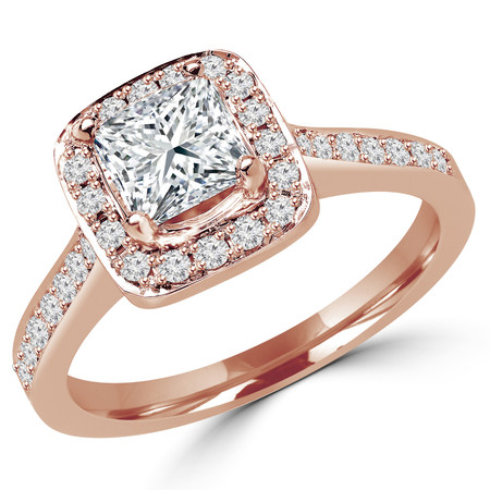 Princess Cut Diamond Vintage Multi-Stone Halo 4-Prong Engagement Ring with Round Diamond Accents in Rose Gold - #2566LP-R