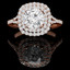 Round Cut Diamond Multi-Stone Double Halo 4-Prong Engagement Ring in Rose Gold - #ADRIANO-R