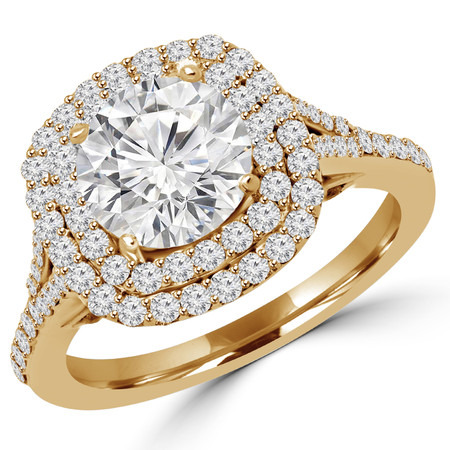 Round Cut Diamond Multi-Stone Double Halo 4-Prong Engagement Ring in Yellow Gold - #ADRIANO-Y