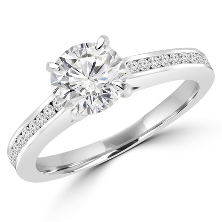 Round Cut Diamond Multi-Stone 4-Prong Engagement Ring with Round Diamond Accents in White Gold - #DMITRY-W