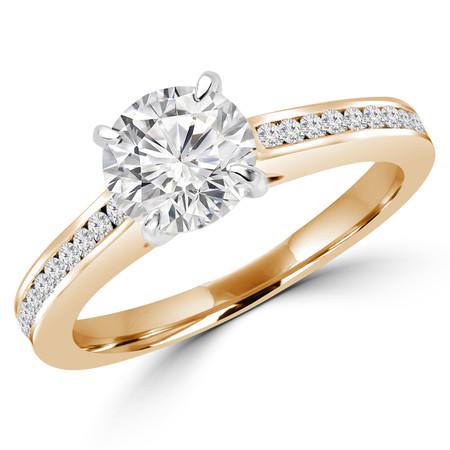 Round Cut Diamond Multi-Stone 4-Prong Engagement Ring with Round Diamond Accents in Yellow Gold - #DMITRY-Y