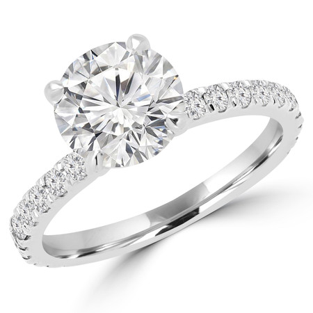 Round Cut Diamond Multi-Stone 4-Prong Engagement Ring with Round Diamond Accents in White Gold - #ELIAS-W