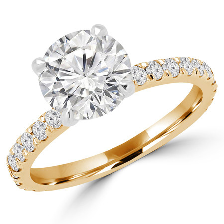 Round Cut Diamond Multi-Stone 4-Prong Engagement Ring with Round Diamond Accents in Yellow Gold - #ELIAS-Y
