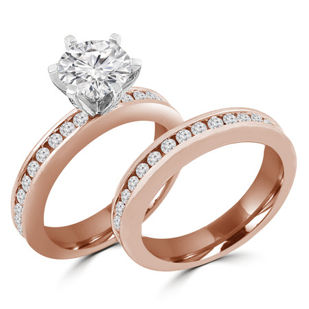 Round Cut Diamond Multi-Stone 6-Prong Engagement Ring & Wedding Band Bridal Set with Round Channel-Set Diamond Accents in Rose Gold - #HR10050A-B-R