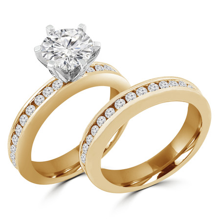 Round Cut Diamond Multi-Stone 6-Prong Engagement Ring & Wedding Band Bridal Set with Round Channel-Set Diamond Accents in Yellow Gold - #HR10050A-B-Y