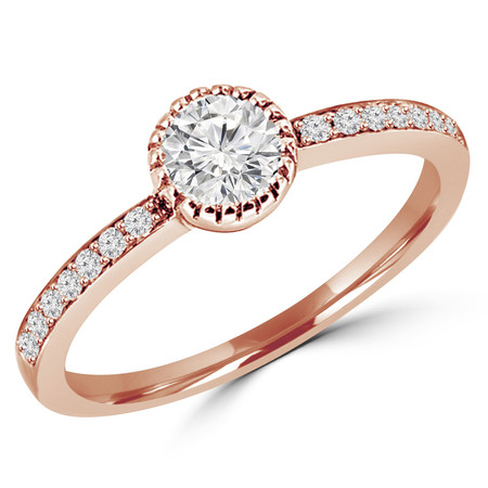 Round Cut Diamond Multi-Stone Prong-Set Engagement Ring with Round Diamond Accents in Rose Gold - #HR10072-R