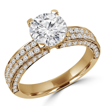 Round Cut Diamond Multi-Stone 4-Prong Engagement Ring with Round Diamond Pave Accents in Yellow Gold - #HDR10077-Y