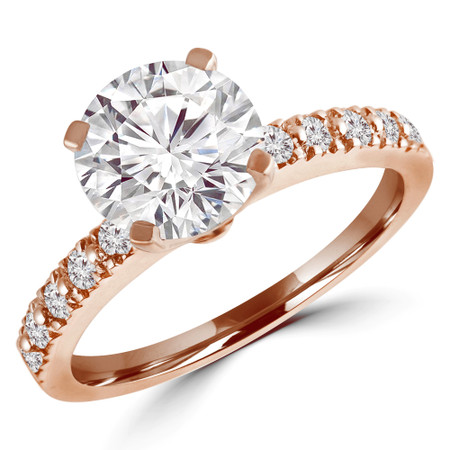 Round Cut Diamond Multi-Stone 4-Prong Engagement Ring with Round Diamond Accents in Rose Gold - #HR10362-R