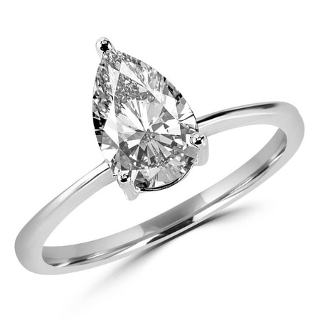 Pear Cut Diamond Solitaire 3-Prong Engagement Ring in White Gold - #HR10071-W