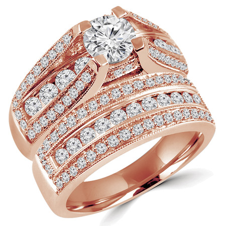 Round Cut Diamond Multi-Stone 4-Prong High-Set Engagement Ring & Wedding Band Bridal Set with Round Diamond Prong & Channel-Set Accents in Rose Gold - #HR3760-A-B-R