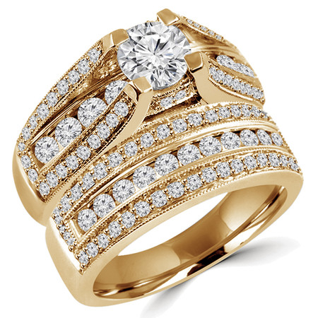 Round Cut Diamond Multi-Stone 4-Prong High-Set Engagement Ring & Wedding Band Bridal Set with Round Diamond Prong & Channel-Set Accents in Yellow Gold - #HR3760-A-B-Y