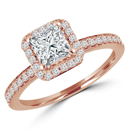 Princess Cut Diamond Multi-Stone 4-Prong Vintage Halo Engagement Ring with Round Diamond Accents in Rose Gold - #HR4435-R