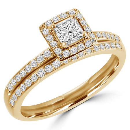 Princess Cut Diamond Multi-Stone 4-Prong Engagement Ring & Wedding Band Bridal Set with Round Diamond Accents in Yellow Gold - #HR4435-A-B-Y
