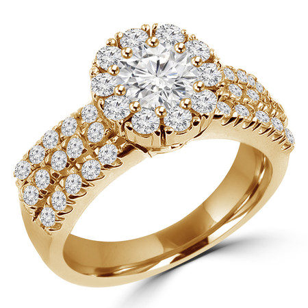 Round Cut Diamond Multi-Stone Shared-Prong Vintage Halo Engagement Ring with Round Diamond Accents in Yellow Gold - #HR4529-Y