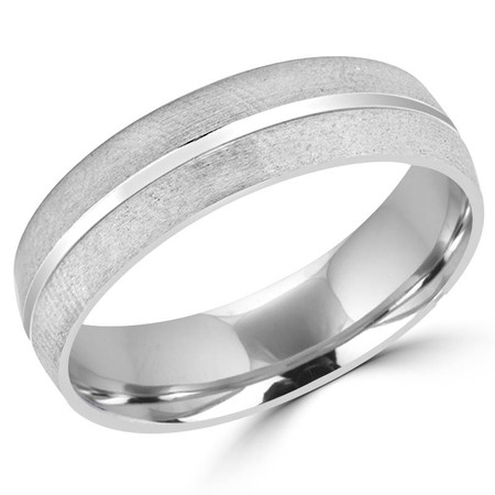 6.0 MM Brushed & Polished Mens Comfort Fit Wedding Band Ring in White Gold - #J531-W