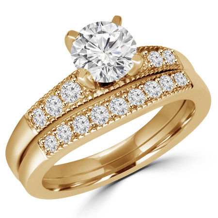 Round Cut Diamond 4-Prong Engagement Ring & Wedding Band Bridal Set with Round Diamond Accents in Yellow Gold - #HR4733-A-B-Y