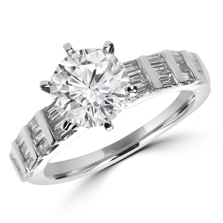 Round Cut Diamond Multi-Stone 6-Prong Engagement Ring with Baguette Cut Diamond Invisible-Set Accents in White Gold - #HR10583-W