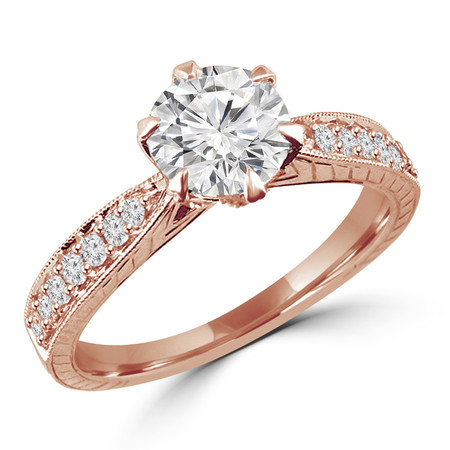 Round Cut Diamond Multi-Stone 6-Prong Vintage Engagement Ring with Round Diamond Accents in Rose Gold - #HR6207-R
