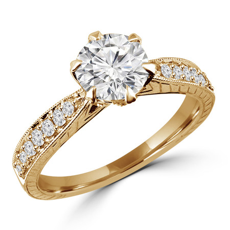 Round Cut Diamond Multi-Stone 6-Prong Vintage Engagement Ring with Round Diamond Accents in Yellow Gold - #HR6207-Y