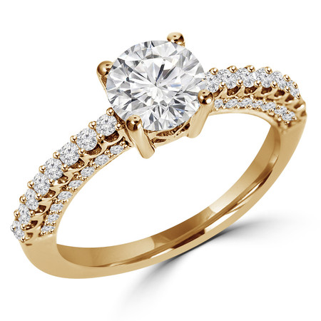 Round Cut Diamond Multi-Stone 4-Prong Vintage Engagement Ring with Round Diamond Scallop-Set & Pave Accents in Yellow Gold - #HR6213-Y